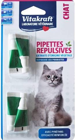 Pipettes répulsives antiparasitaire pour chat